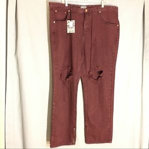 Alice & You Burgundy Destroyed High Rise Jeans 22